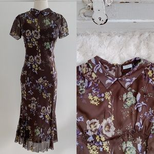 Paul Smith Brown Floral Silk Midi Dress